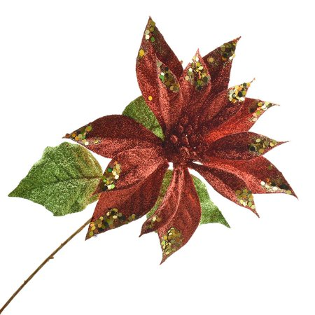 Artificial Glittered Holiday Poinsettia Stem, 15-Inch, Red