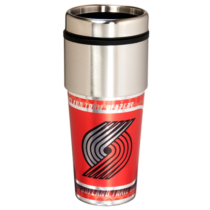Portland Trail Blazers 16 Ounce Travel Tumbler With Metallic