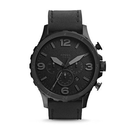 Fossil Men's Nate Chronograph Black Leather Band Watch ()