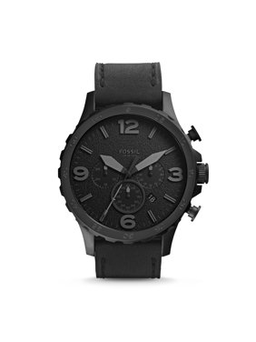 Fossil Men's Nate Chronograph Black Leather Band Watch