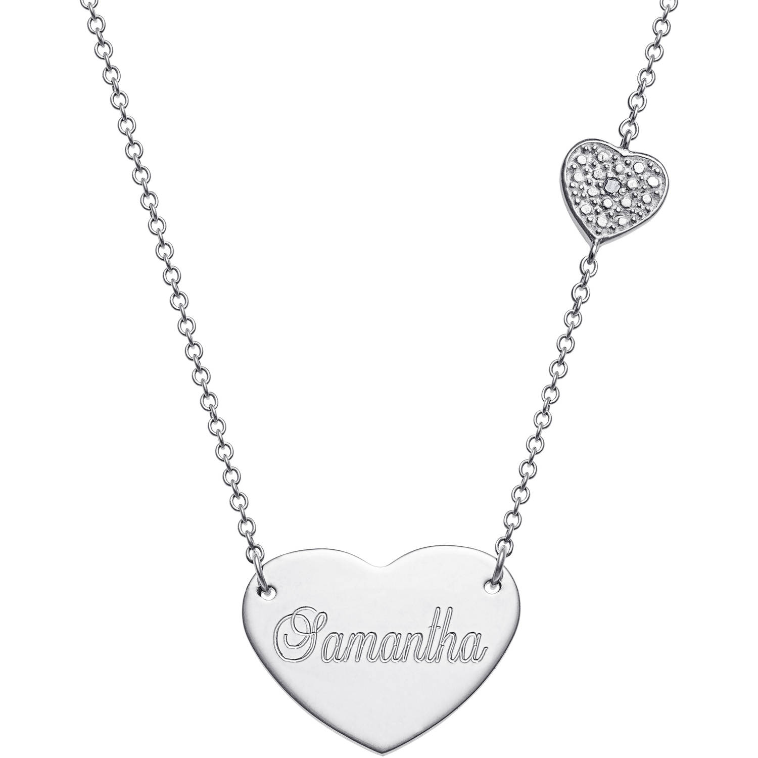 """Personalized Diamond Accent Sterling Silver Engraved Heart Necklace, 16"""" Chain with 2"""" Extender"""