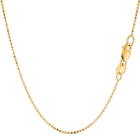 14k Yellow Gold Diamond Cut Bead Chain Necklace, 1.2mm - Gold Bead Necklaces