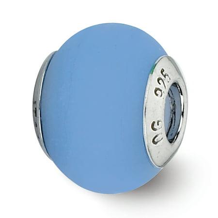 Italian Murano Glass Flower - Sterling Silver Reflection Blue Matte Italian Murano Glass Bead MSRP $81