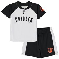Baltimore Orioles Toddler Good Hit Henley T-Shirt & Shorts Set - White/Black