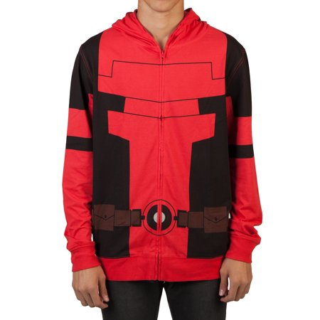 Deadpool Belt Cosplay (Marvel Big Men's Lightweight Cosplay Zipper Hoodie with Full Face Covering Mask,)