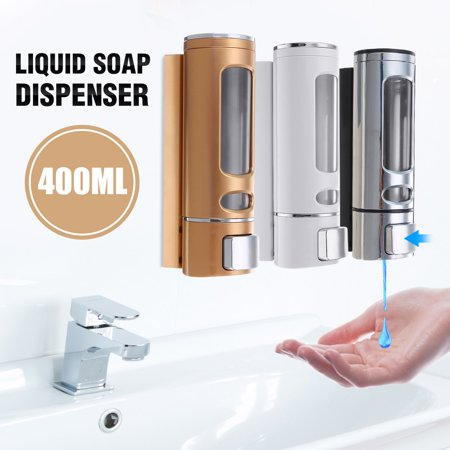 400ml Wall Mounted Soap Sanitizer Bathroom Shower Shampoo Dispenser Lotion Pump Action For Hotel And Home - image 7 de 7