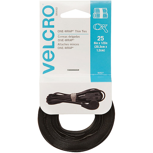 "Velcro Reusable Black Ties, 8"" x 1/2"", 25pk"