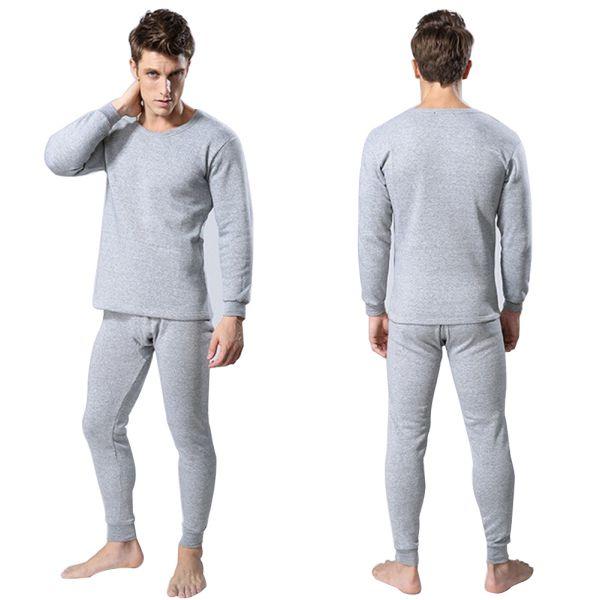 Efinny Efinny 2pcs Men Cotton Long Tops Pants Thermal Underwear
