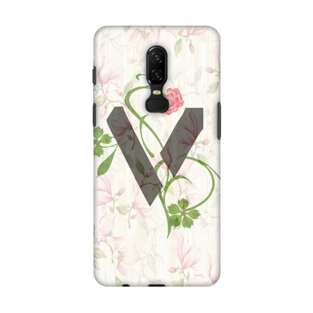 OnePlus 6 Case - Floral Vines- V, Hard Plastic Back Cover, Slim Profile Cute Printed Designer Snap on Case with Screen Cleaning Kit - Halloween Vines Clean