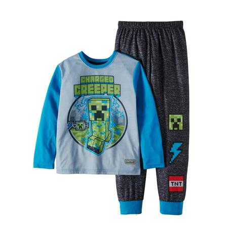 Minecraft Creeper Pants (Boys Minecraft Pajamas Blue & Gray Charged Creeper Sleep Set Top &)