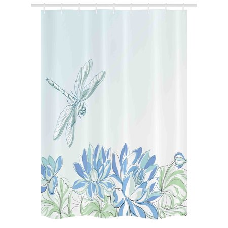 Dragonfly Stall Shower Curtain, Waterlilies Flowers and Dragonflies Simplistic Design Eco Nature Theme Artwork, Fabric Bathroom Set with Hooks, 54W X 78L Inches, Blue Green, by Ambesonne (Echo Shower Curtain)