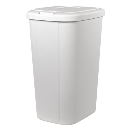 13.3-gal Hefty Touch Lid Trash Can, White with Decorative Texture .
