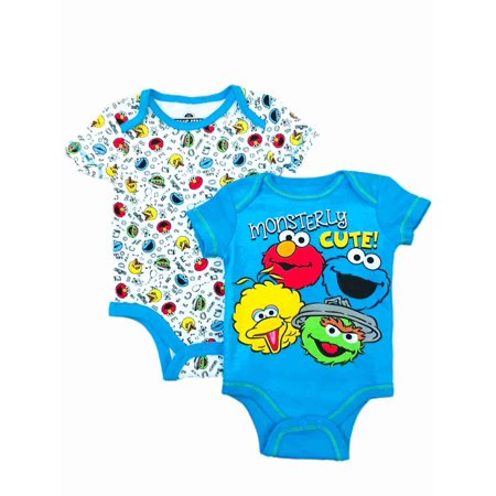 Sesame Street Infant Boys 2pc Blue Elmo Bodysuit Set Cookie Monster - Cookie Monster Outfit