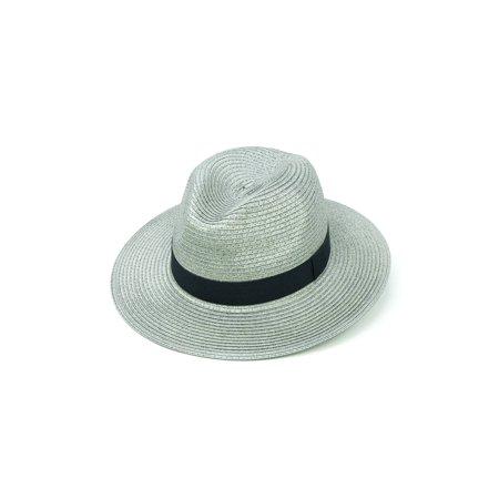 ChicHeadwear Womens 100% Paper Panama Hat w/ Metallic Band - Gold - image 2 of 2