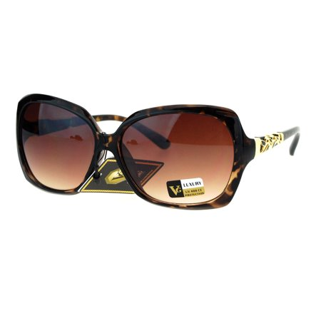 - Womens Butterfly Metal Foliage Jewel Hinge Designer Sunglasses Tortoise Brown