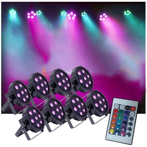 Up-Lighting System - 8 FlatPar Quad Color 7 x 10 watt RGBW Up Lights w/Easy Remote - DJ Lighting