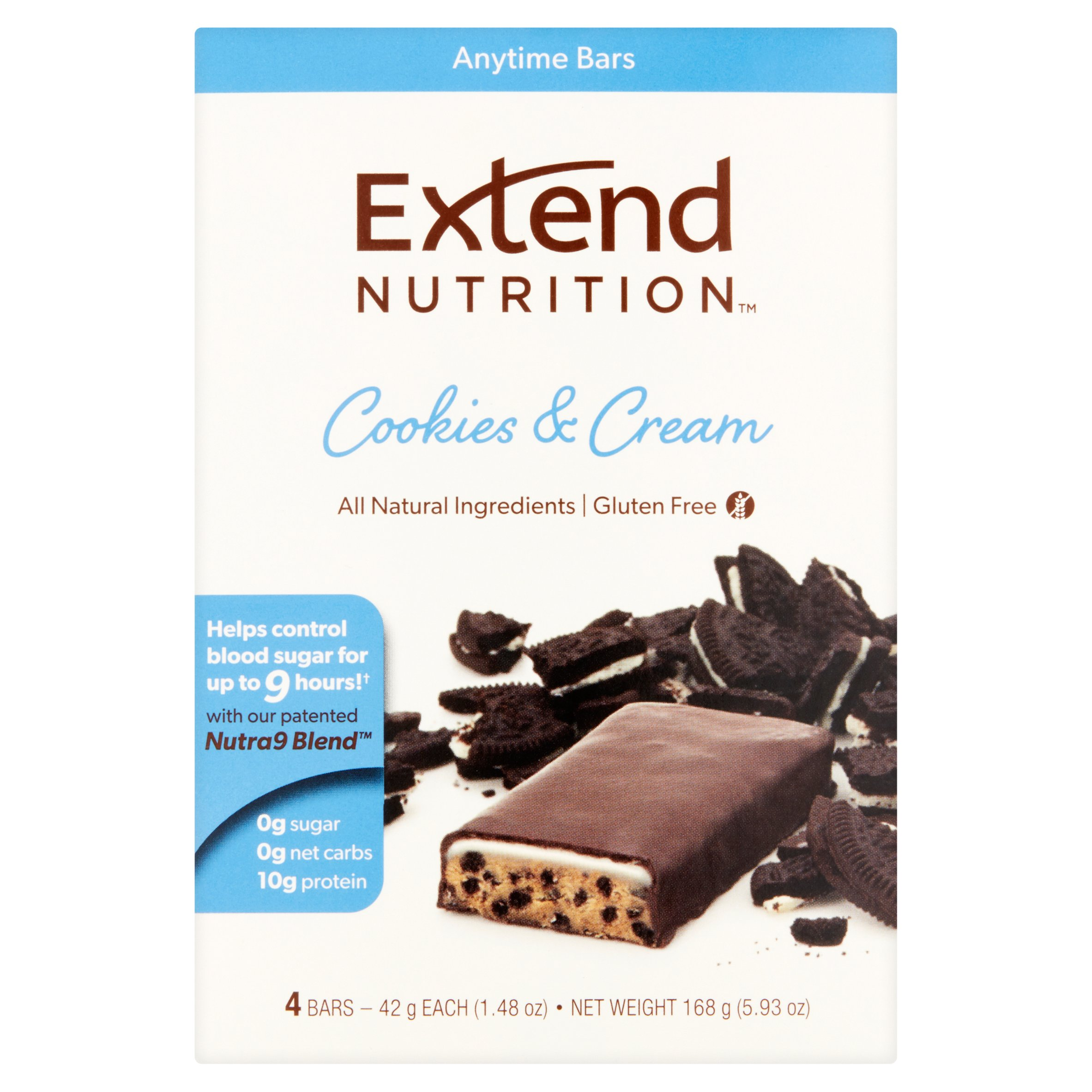 Extend Nutrition Bar, Cookies & Cream, 10g Protein, 4 Ct