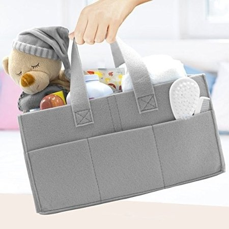 Sorbus Felt Baby Diaper Caddy with Handle, Storage for Diapers, Baby Wipes, Supplies, etc - Portable, Foldable, Removable Compartments ()