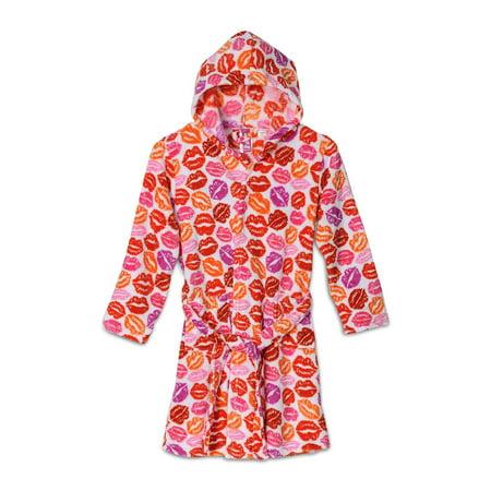 Fuzzy Little Monkeys - Up Past 8 Girls'  Fuzzy Hooded Robe, Lips, Size: X-Large / 12-14