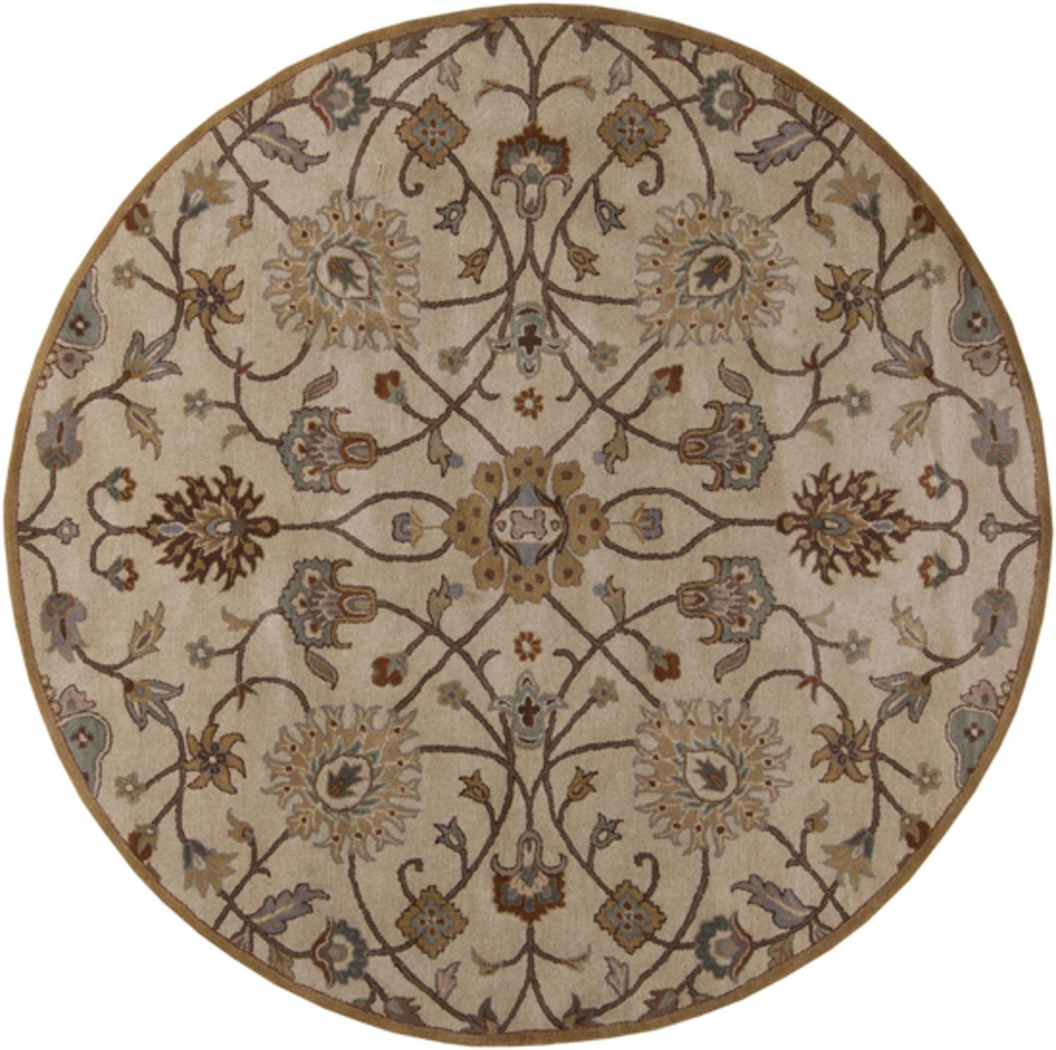 9.75' Valeria Desert Sand and Russet Brown Hand Tufted Round Wool Area Throw Rug