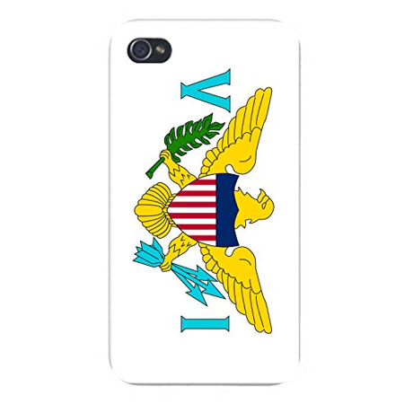 Apple iPhone Custom Case 4 4S White Plastic Snap On - World Country National Flags - Virgin Islands