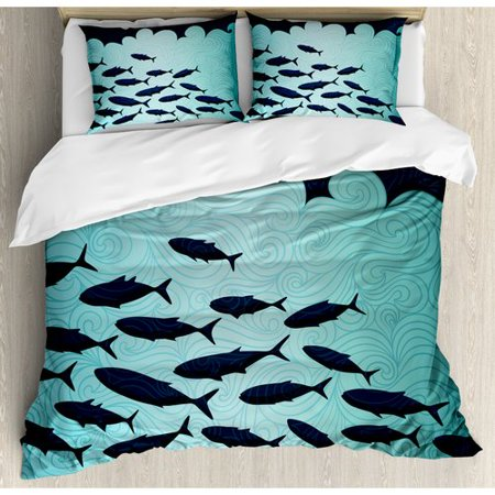 Ambesonne Ocean Animal Surreal Graphic Ornate Swirl Waves and Group of Fish Nautical Theme Duvet Set