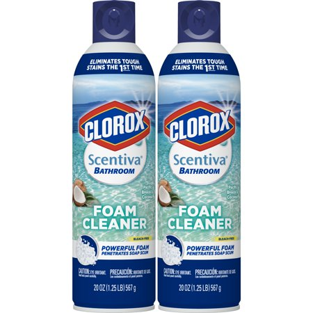 Clorox Scentiva Bathroom Foam Cleaner - Foaming Aerosol Multi-Surface Cleaner - Pacific Breeze & Coconut - 20 Ounce - Pack of 2