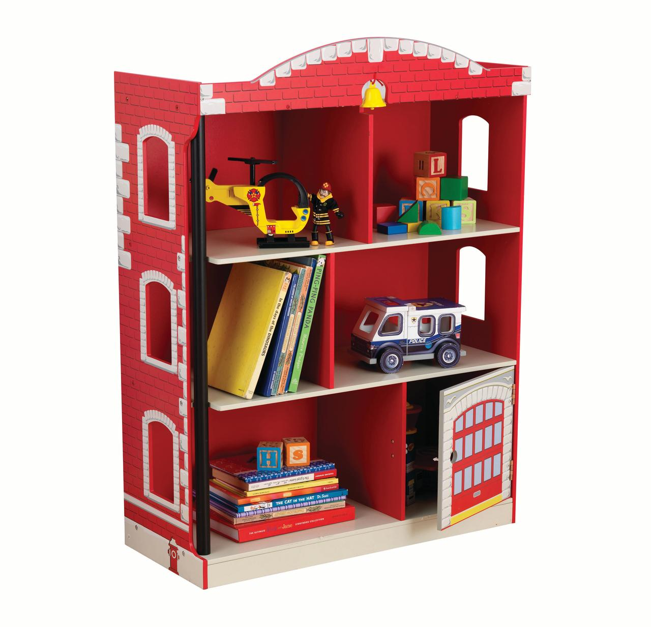 KidKraft Firehouse Kids Red Bookshelf with Garage Door Compartment