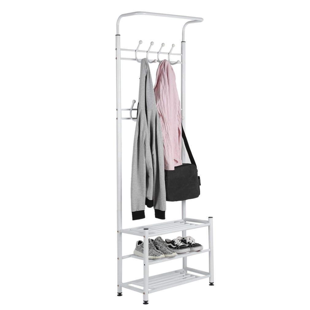 Multi Purpose Entryway Shoes Storage Organizer Hall Tree Bench With Coat  Rack Hooks Clothes Stand