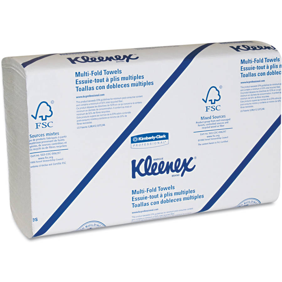 Kimberly-Clark Professional Kleenex Multifold White Paper Towels, 9 1/5 X 9 2/5, White, 150 sheets, 8 ct
