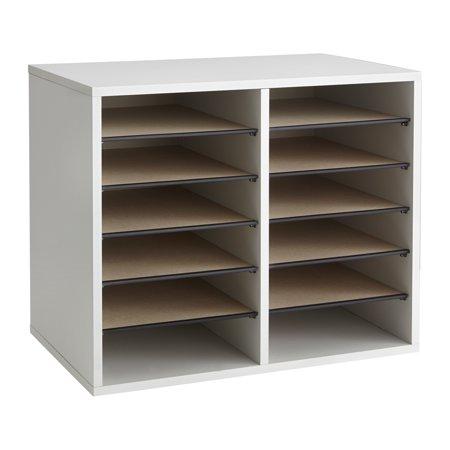 Wood Adjustable Literature Organizer - 12Compartment, - Safco Rotating Wood Display
