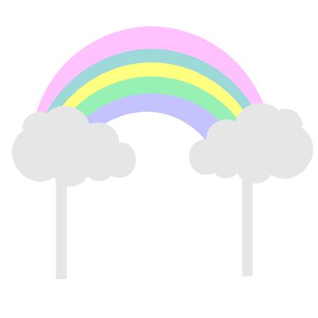Pastel Rainbow & Clouds Cake Decoration Banner Topper](Rainbow Cake Decorations)
