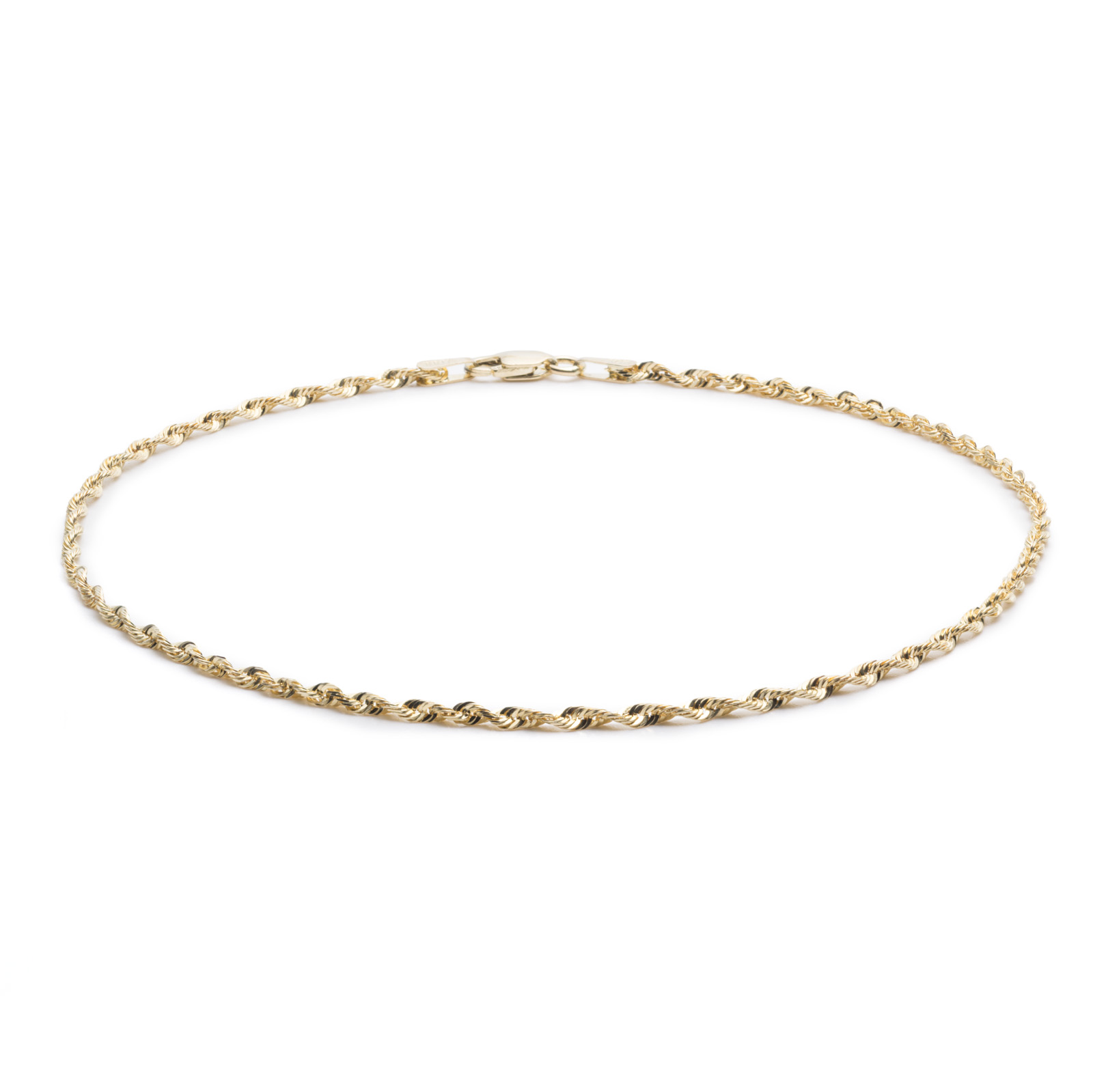 10k Yellow Gold Solid Extra Light Diamond Cut Rope Chain Bracelet and Anklet for Men and Women, 2mm by Glad Gold