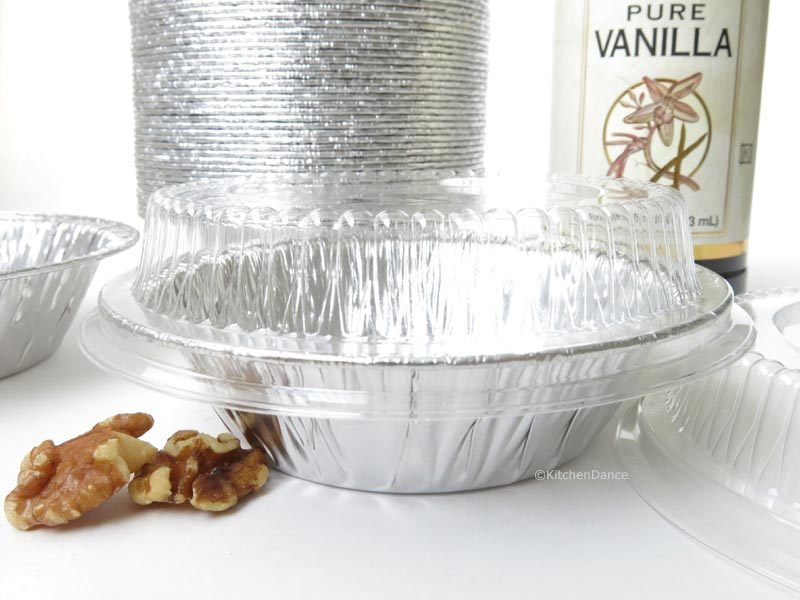 """5"""" Disposable Tart Pan or Individual Pie Pan with Lids Pack of 24- #501P by KitchenDance"""