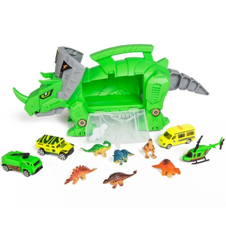 Best Choice Products Kids Triceratops Toy Car Carrier Holder Play Set w/ Carrying Handle, Wheels, 4 Vehicles, 4 Dinosaurs