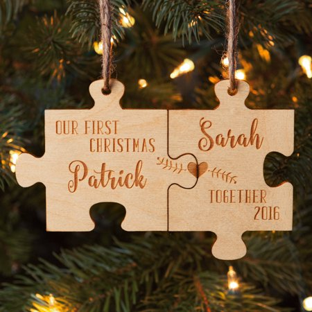 Our First Christmas Together Personalized Wood Ornament Set](Personalized Football Ornaments)