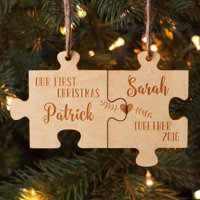 Our First Christmas Together Personalized Wood Ornament Set