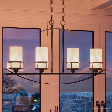 """Urban Ambiance Luxury Rustic Chandelier, Large Size: 18.5""""H x 32.5""""W, with Craftsman Style Elements, Banded Wrought Iron Design, Forged Iron Finish and White Onyx Stone Shades, UQL2415"""