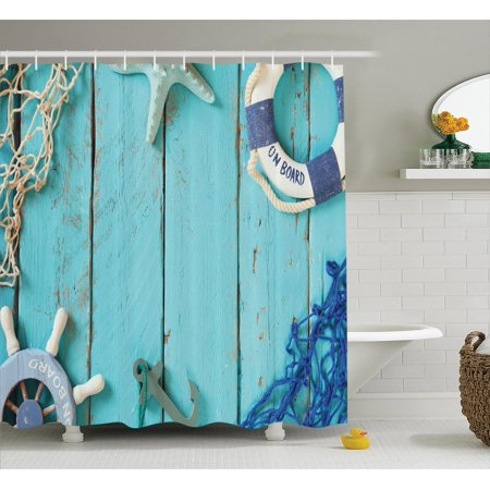 Nautical Decor Shower Curtain Set Top View Theme Life Style Vintage Steering Wheel Stars
