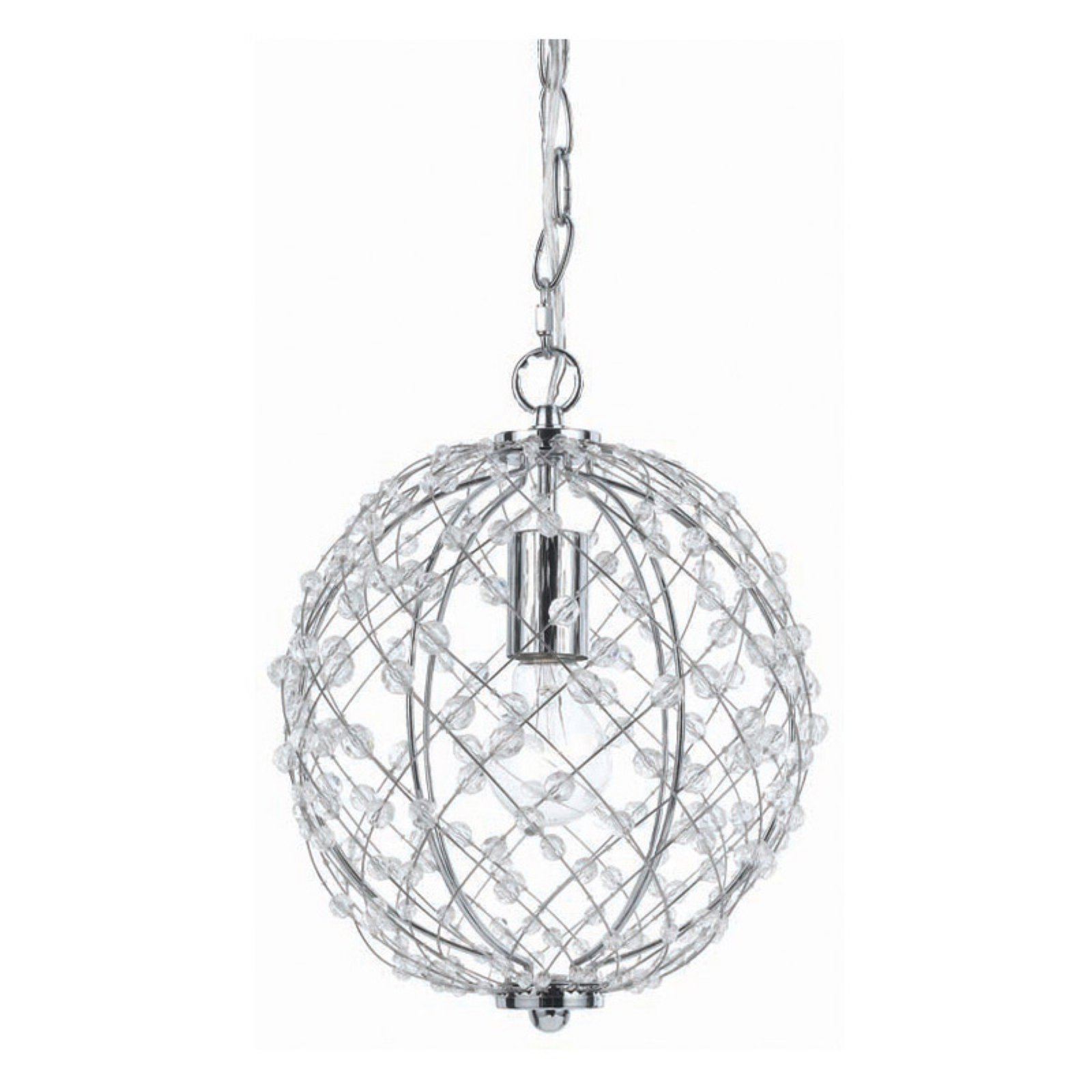 AF Lighting 8284-1H Small Round Silver Web Pendant by AF Lighting
