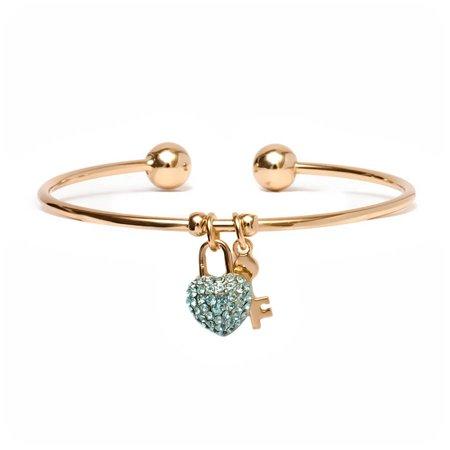 18kt Gold over Brass & Swarovski Elements Aqua Heart Lock and Key Charm Cuff ()