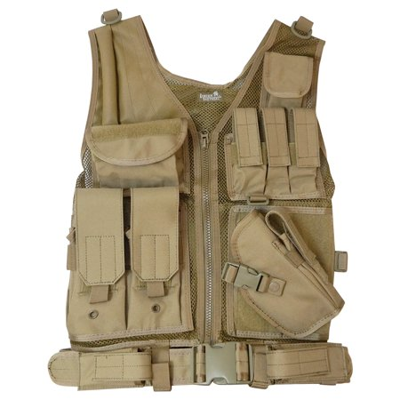 Lancer Tactical Cross Draw Magazine and Pistol Holster Adjustable Vest with  Belt - Coyote Tan - CA-310K