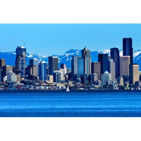 Seattle Skyline Sailboat Puget Sound Cascade Mountains, Washington State Print Wall Art By William Perry](Halloween Boat Cruise Seattle)