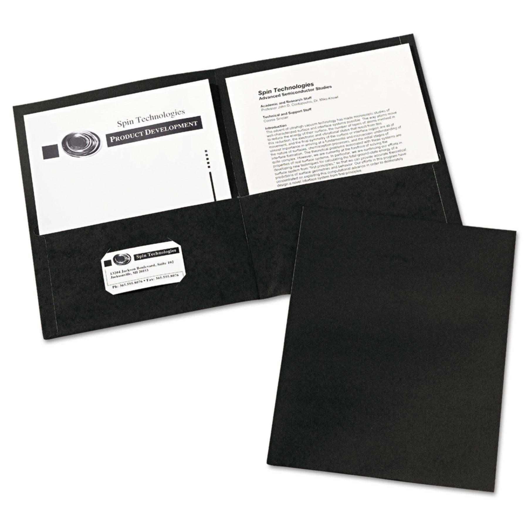 Avery(R) Two-Pocket Folders 47988, Black, Box of 25
