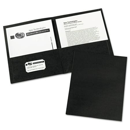 Avery(R) Two-Pocket Folders 47988, Black, Box of 25 - Plastic Folders