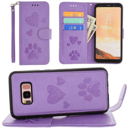 CellularOutfitter Samsung Galaxy S8 Plus Wallet Case - Embossed Puppy Love Design w/ Matching Detachable Case and Wristlet - (Marching Case)