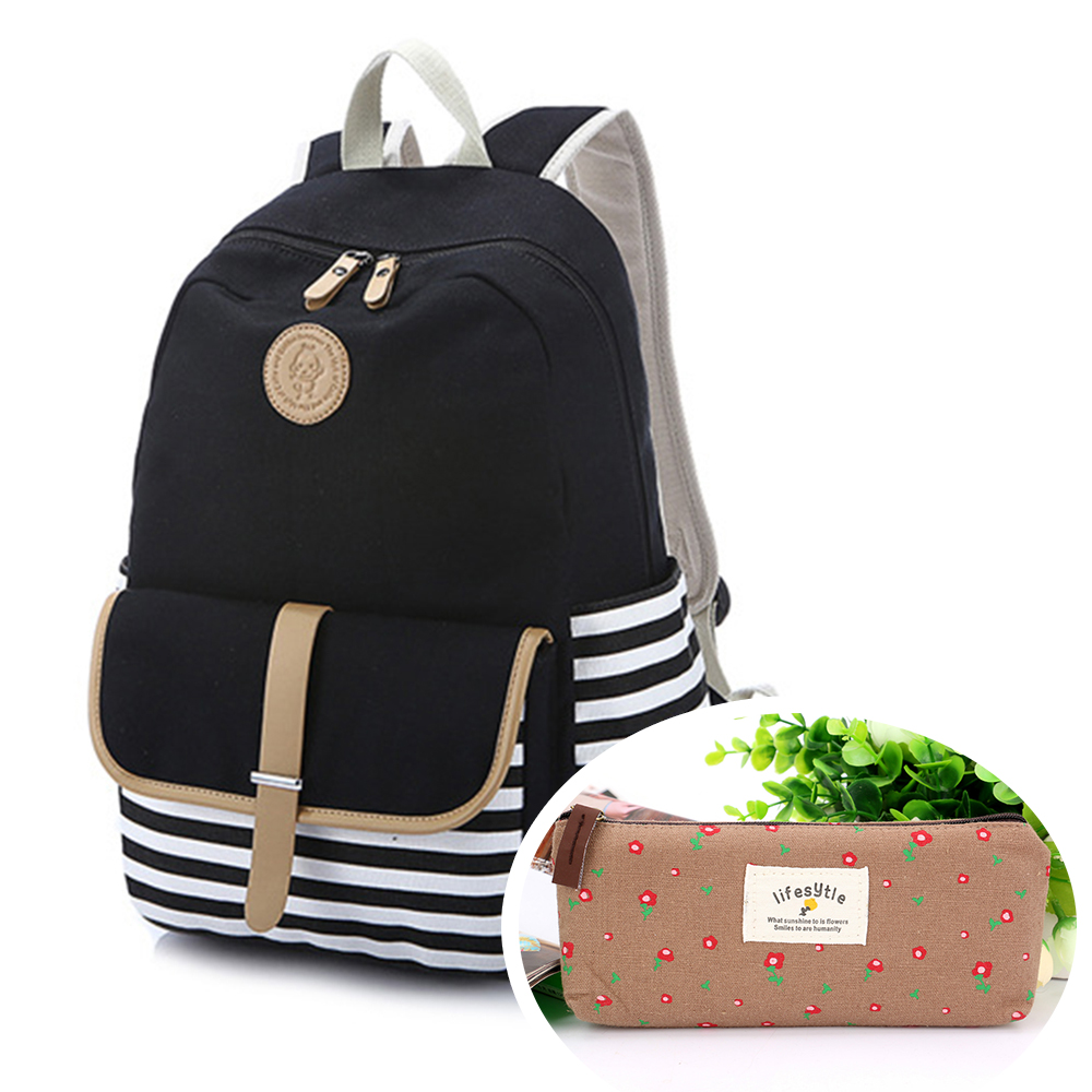 CoastaCloud Thickened Canvas Laptop Bag/Shoulder Daypack/School Backpack/Causal Handbag with One Free Pen Bag
