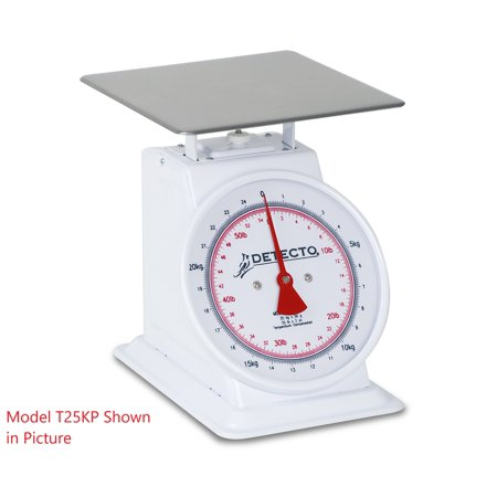 Detecto, T-25-KP, Dual Reading Top Loading Dial Scale, 55 lb capacity 55 Lb Large Monitor