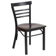 Flash Furniture HERCULES Series Black Ladder Back Metal Restaurant Chair, Wood Seat, Multiple Colors