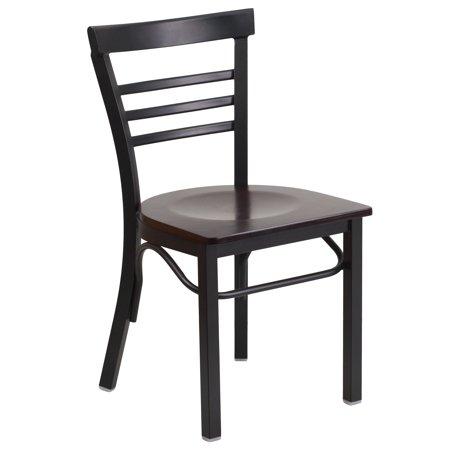 Flash Furniture HERCULES Series Black Ladder Back Metal Restaurant Chair, Wood Seat, Multiple Colors ()
